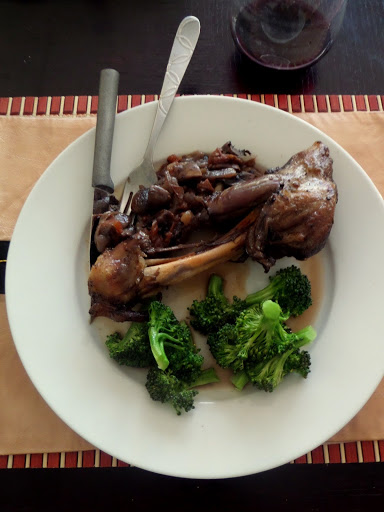 Lamb Shanks:  Lamb shanks cooked until tender with mushrooms and onions in a red wine sauce.  A simple entree that will impress.