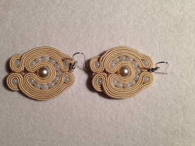 soutache earings, beige soutache, cream soutache, pearls soutache