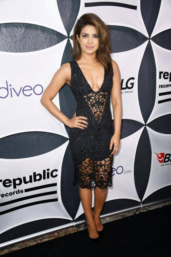 Priyanka Chopra hot Cleavage in Black See-through Dress at GRAMMY After Party