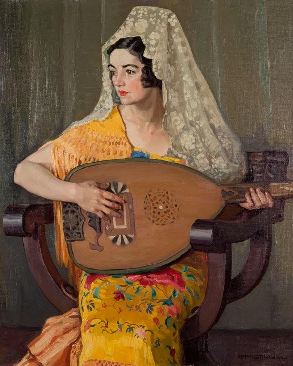 Hilda Rix Nicholas The Spanish shawl