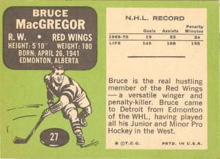 1970 Topps 27 Bruce MacGregor - reverse