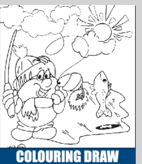 image Kids Ontario Family Fishing Colouring Draw sample image Raccoon wearing scarf catching a fish