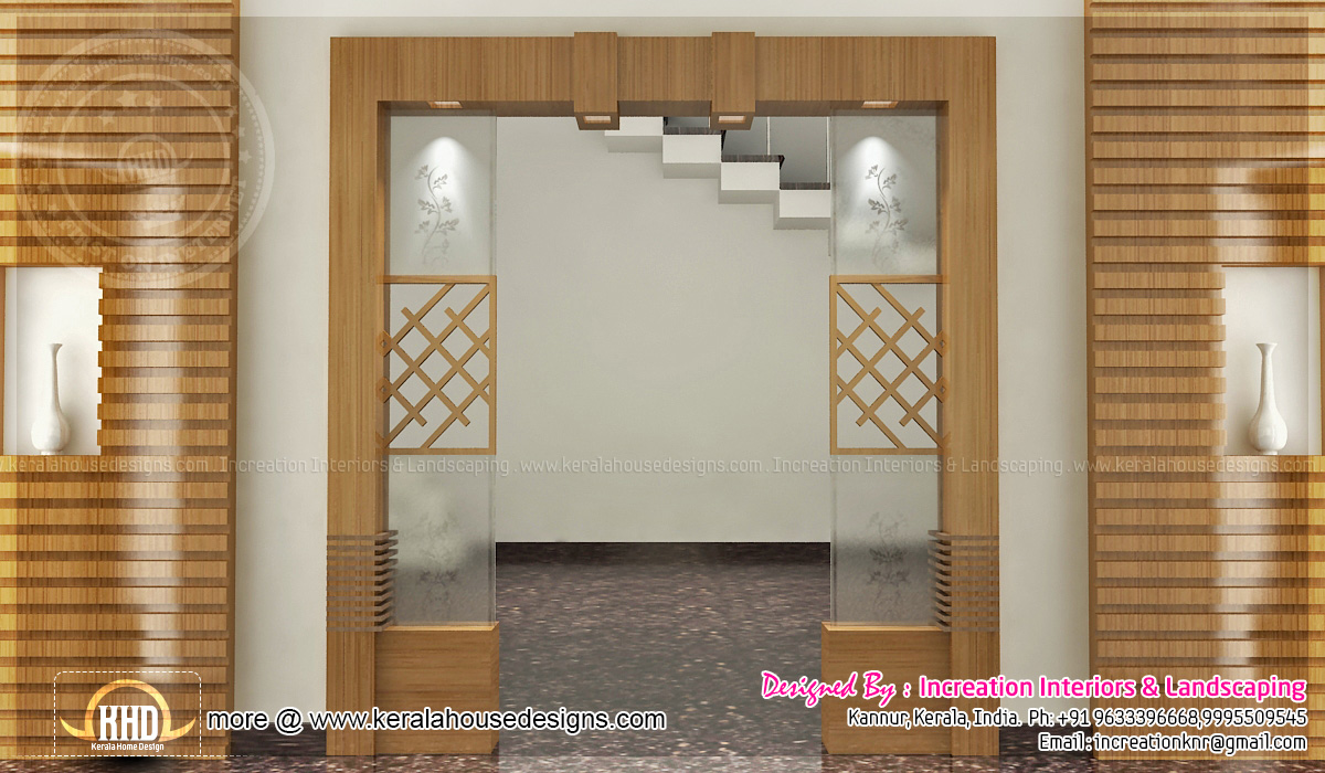 3d interiors by increation interiors home kerala plans for Foyer designs india