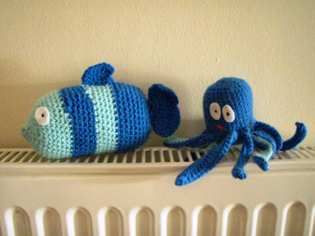 funny crochet fish and octopus plus toy