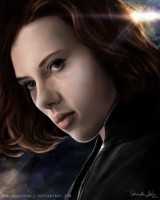 The Avengers Poster Challenge wallpaper Paintings of Sheridan Johns | Black Widow Natalia Romanova and Fury | | Scarlett Johansson as Natasha Romanoff Black Widow | Totally Cool Pix | big picture | totallycoolpix | The Avengers wallpaper | 3d movie painting | painting wallpaper | Sheridan Johns painting | realistic painting | water color painting | water colour painting