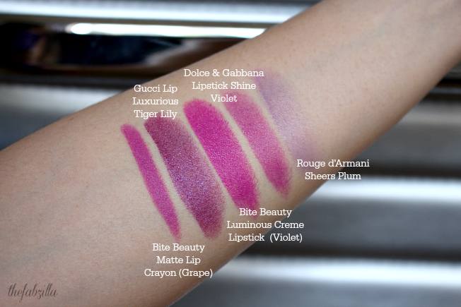Top 5 Violet Lipsticks, Purple Lipsticks, Gucci Lip Luxurious Tiger Lily, Dolce and Gabbana Lipstick Shine Violet, Giorgio Armani Rouge d'Armani Sheers Plum, Bite Beauty Luminous Lip Creme Violet, Bite Beauty Matte Grape, Bite Beauty High Intensity Violet, Review, Swatch
