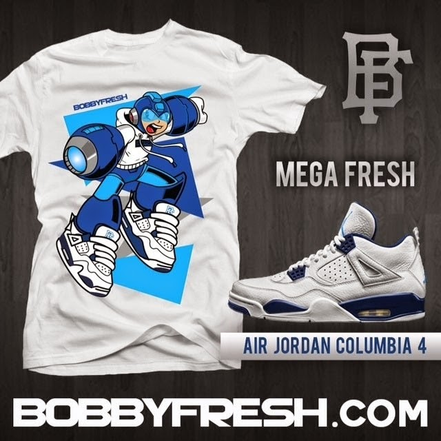 """Mega Fresh"" Mega Man x Air Jordan Columbia 4 Sneakers T-Shirt by Bobby Fresh"
