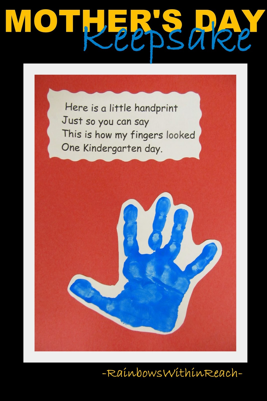 Mother's Day Painted Hand Keepsake with Rhyme at RainbowsWithinReach