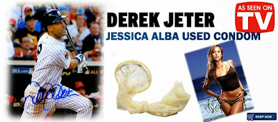 funny Derek Jeter Jessica Alba selling game worn condom