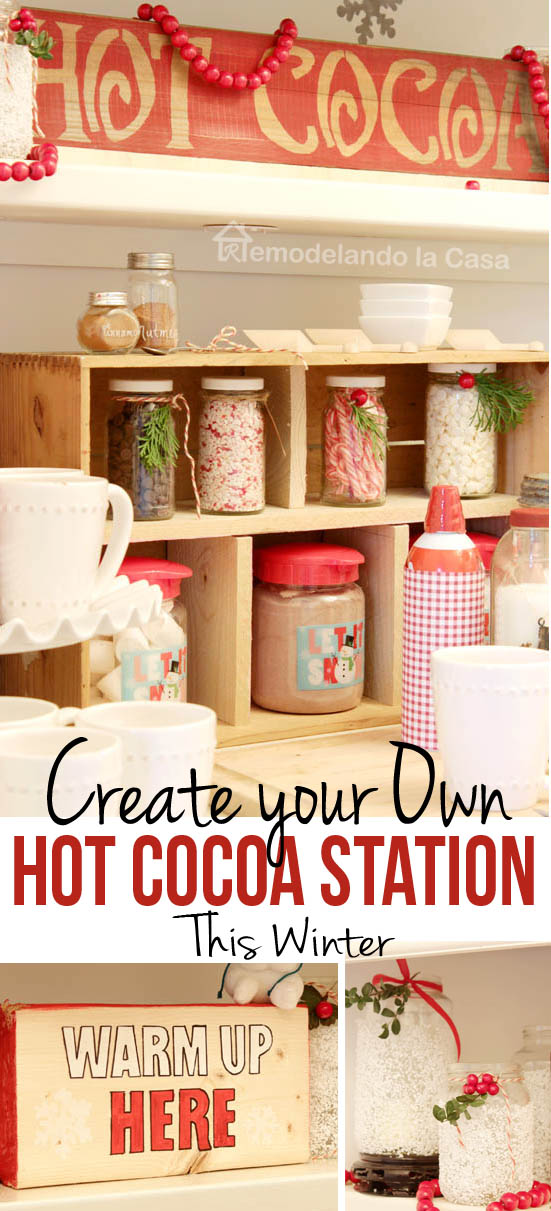 mason jars, hot cocoa,marshmallows, sign, mugs, cakestand
