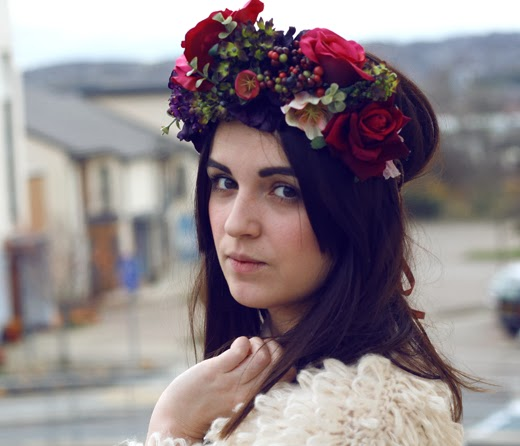 floral crown, flower headwear, rose crown, flower crown, berry, rose, fluffy cardigan, shaggy cardigan, hippy, hippie, uk fashion, uk style, ootd