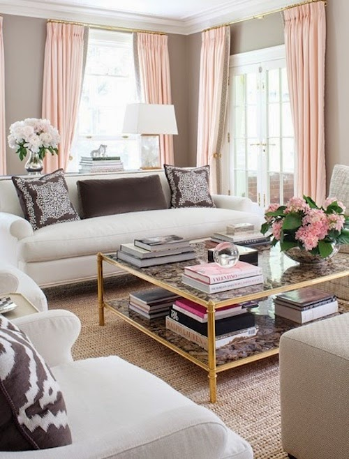 At home pastel pink hamptons style for Living room ideas pastel