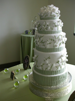 5-tier oversized round fondant with gumpaste flowers