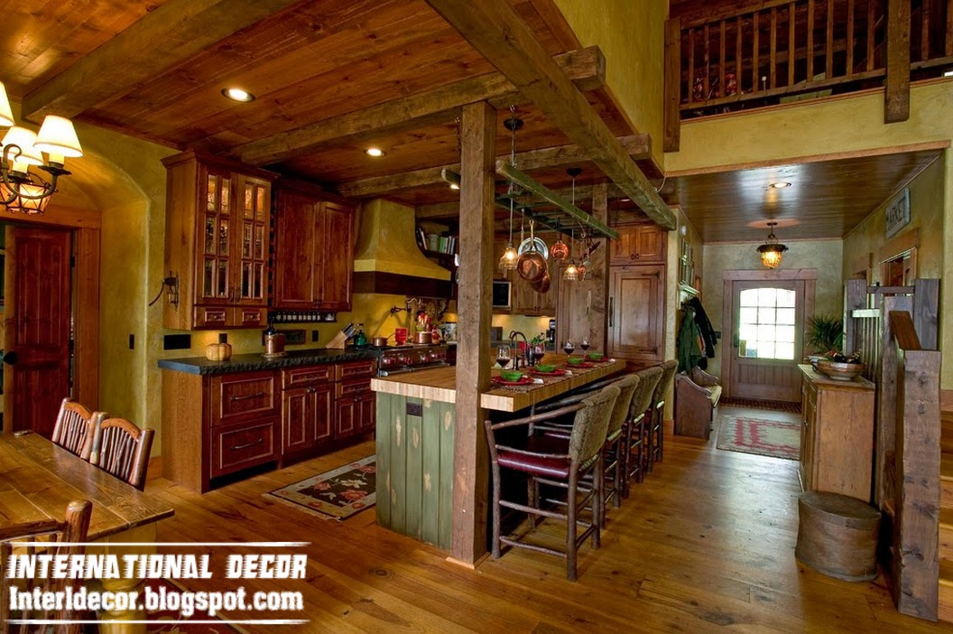 rustic interior kitchen and dining room in the woods with a rustic