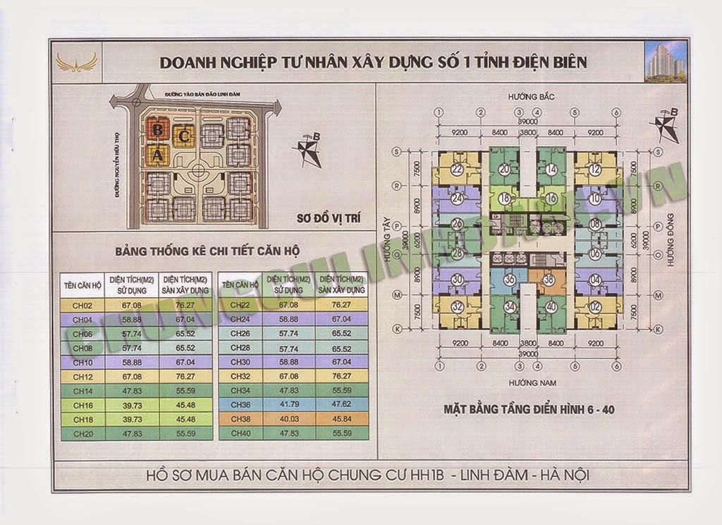 Thiết kế căn hộ tầng 6 đến tầng 40 chung cư HH1B Linh Đàm