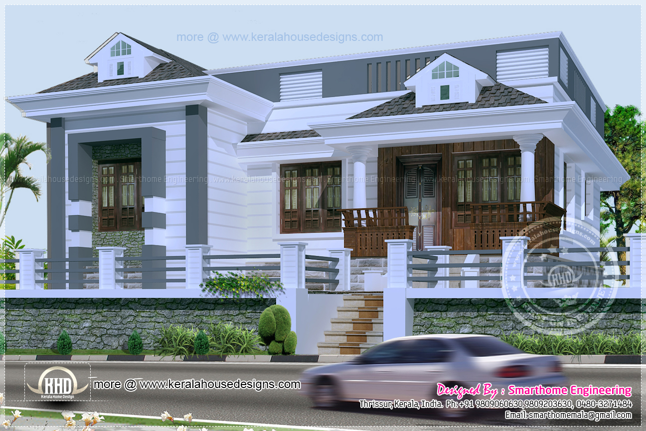 3 bedroom kerala style single story budget villa indian for Kerala style single storey house plans
