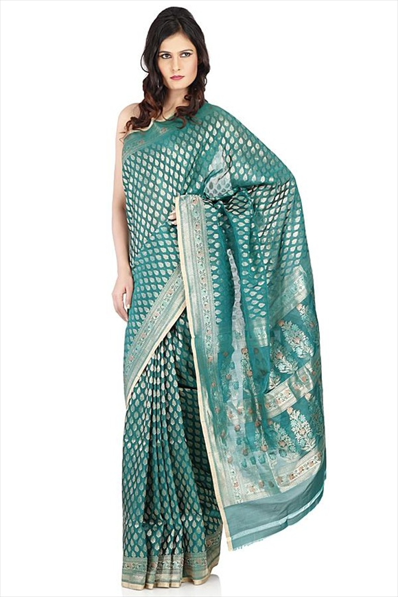Bottle Green Kattan Silk Banarasi Saree
