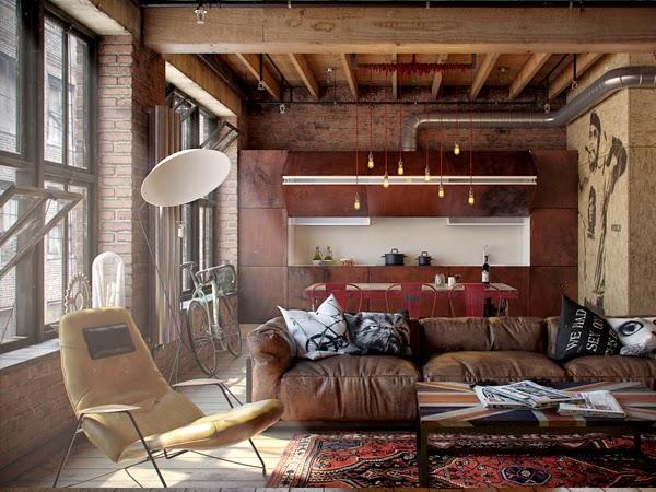 Ciemne mieszkanie w lofcie