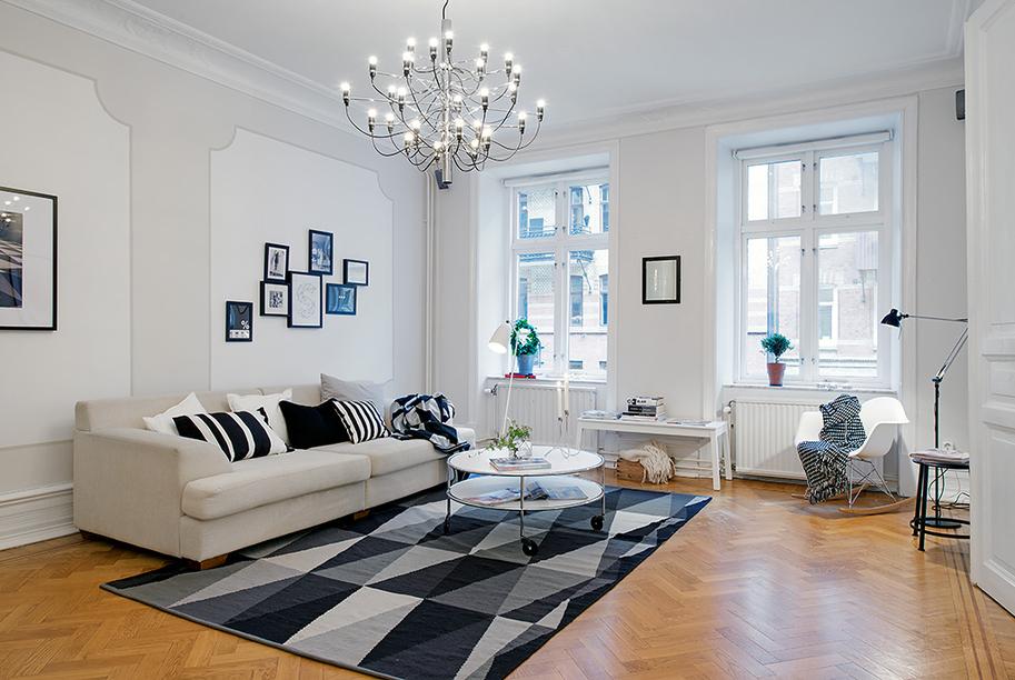 apartamento estilo nordico en blanco negro y gris