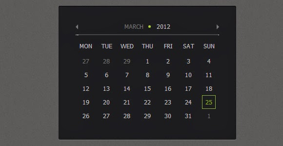 Create Calendar using jQuery and CSS3