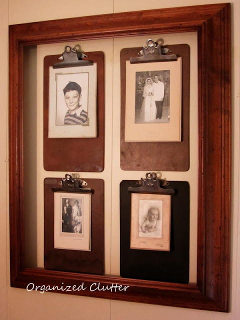Framed Clipboard Photo Wall http://organizedclutterqueen.blogspot.com/2013/10/pinterest-inspired-clipboard-photo-wall.html