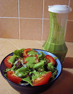 Bowl of Salad with Pesto Dressing