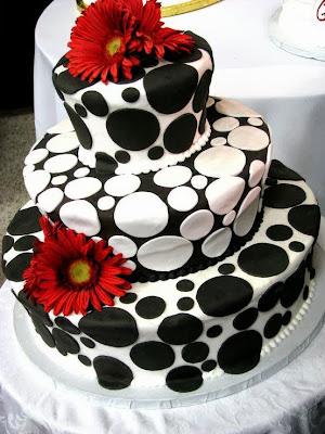 Tarta con círculos blancos y negros
