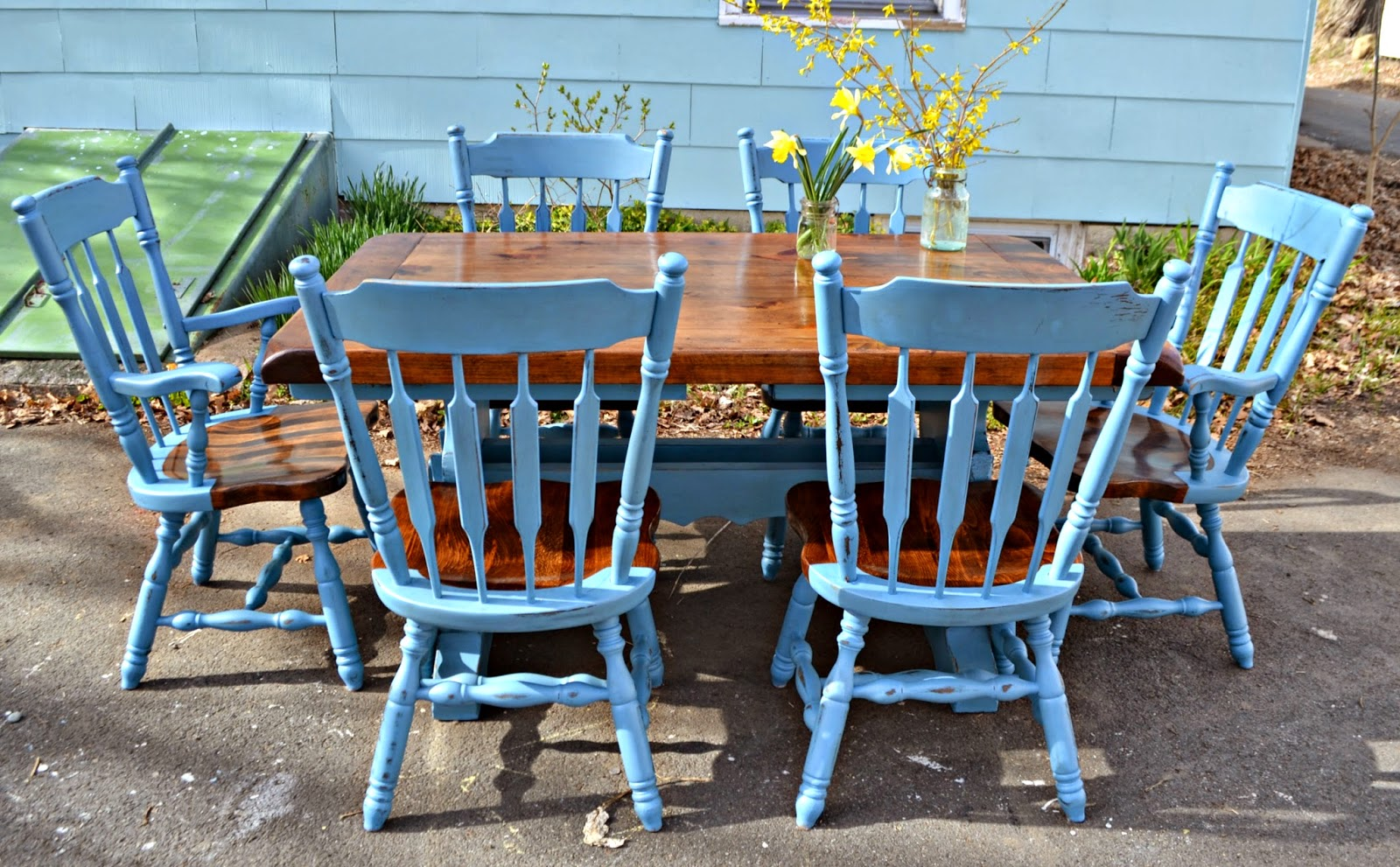 Heir and Space: A Farmhouse Dining Set in Blue and Pine