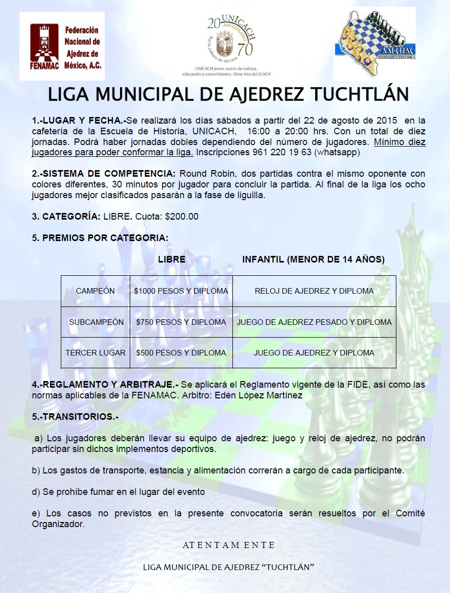 Red social ajedrez de chiapas liga municipal de ajedrez for Liga municipal marca