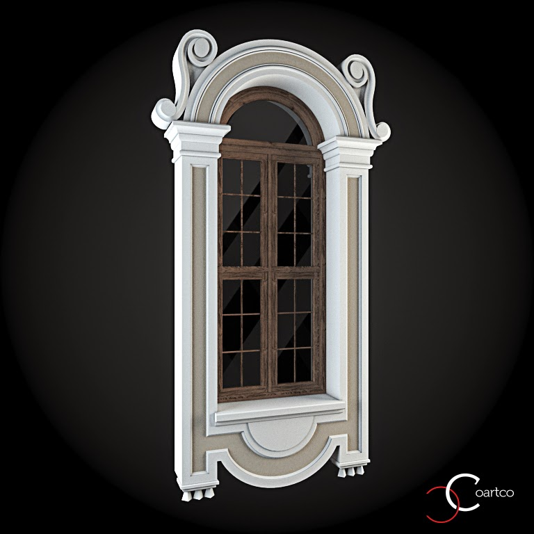 Ornamente Geamuri Exterior, Arcada fatade case cu profile decorative polistiren, profile fatada,  Model Cod: WIN-056