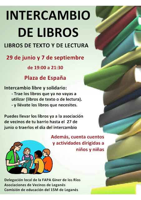 INTERCAMBIO DE LIBROS DE LECTURA INFANTIL Y JUVENIL Y DE LIBROS DE TEXTO EN LA PLAZA DE ESPAA.