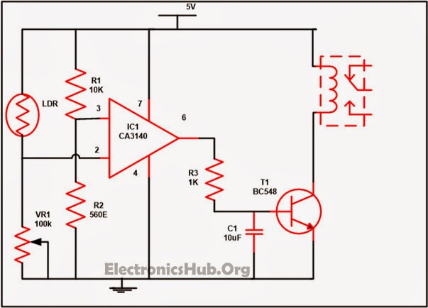 Automatic Street Light Controller Circuit Using Relays and LDR ...
