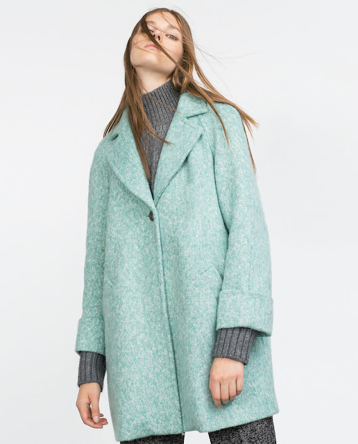 zara turquoise coat, zara light green coat,