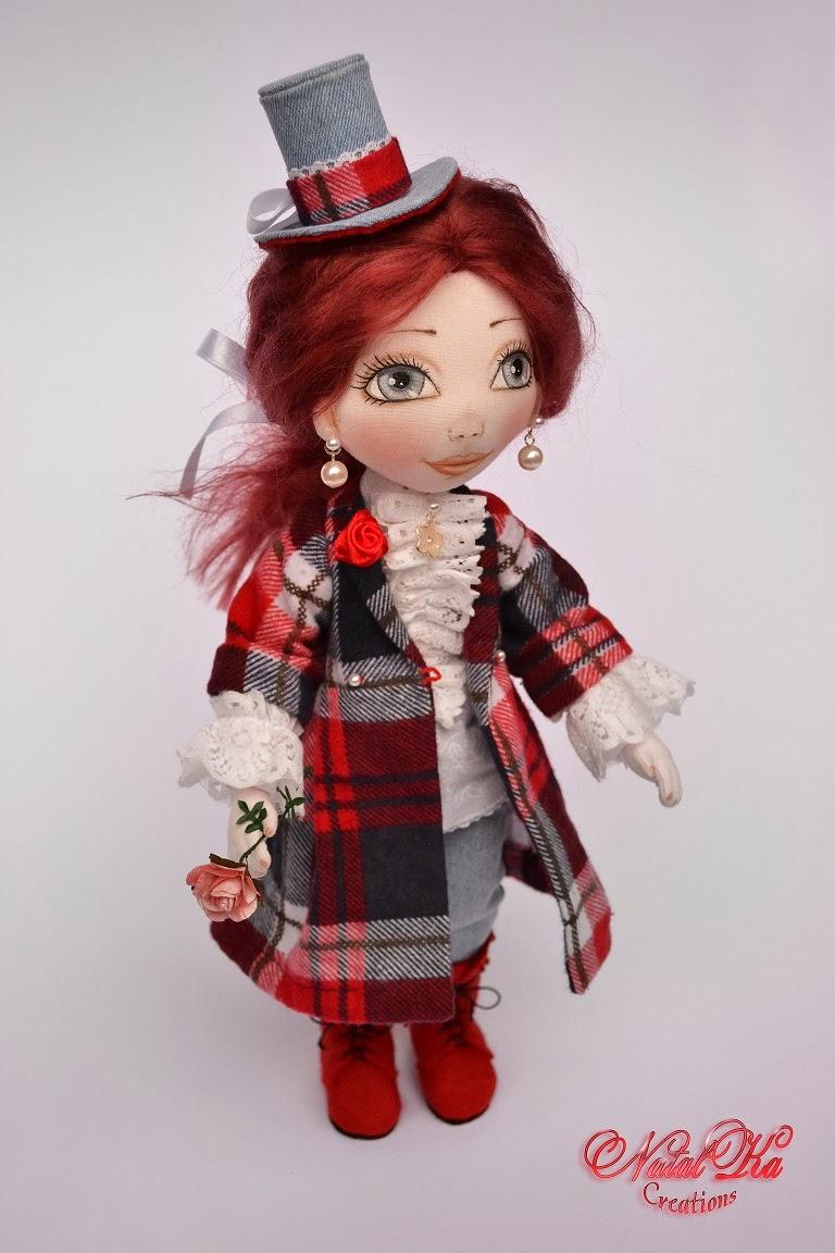 Rag cloth art doll. Авторская текстильная шарнирная кукла. Künstlerpuppe