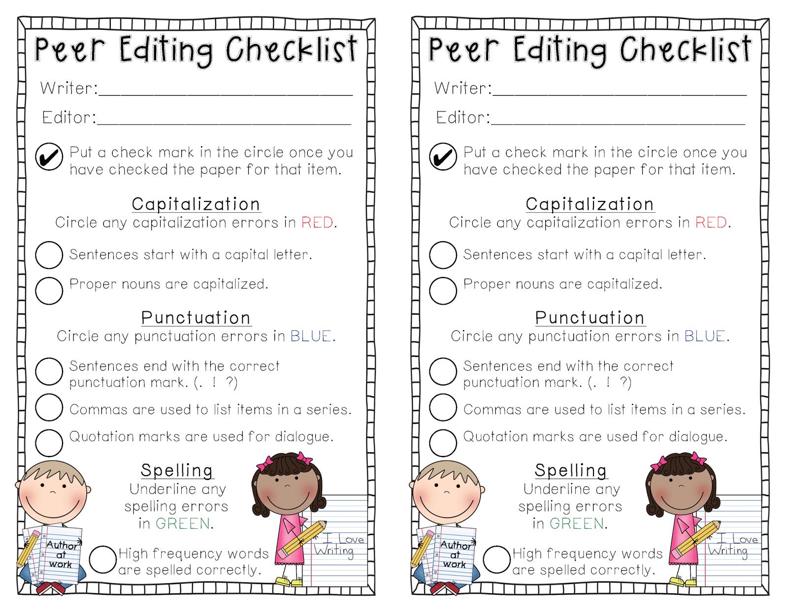 self edit essay checklist