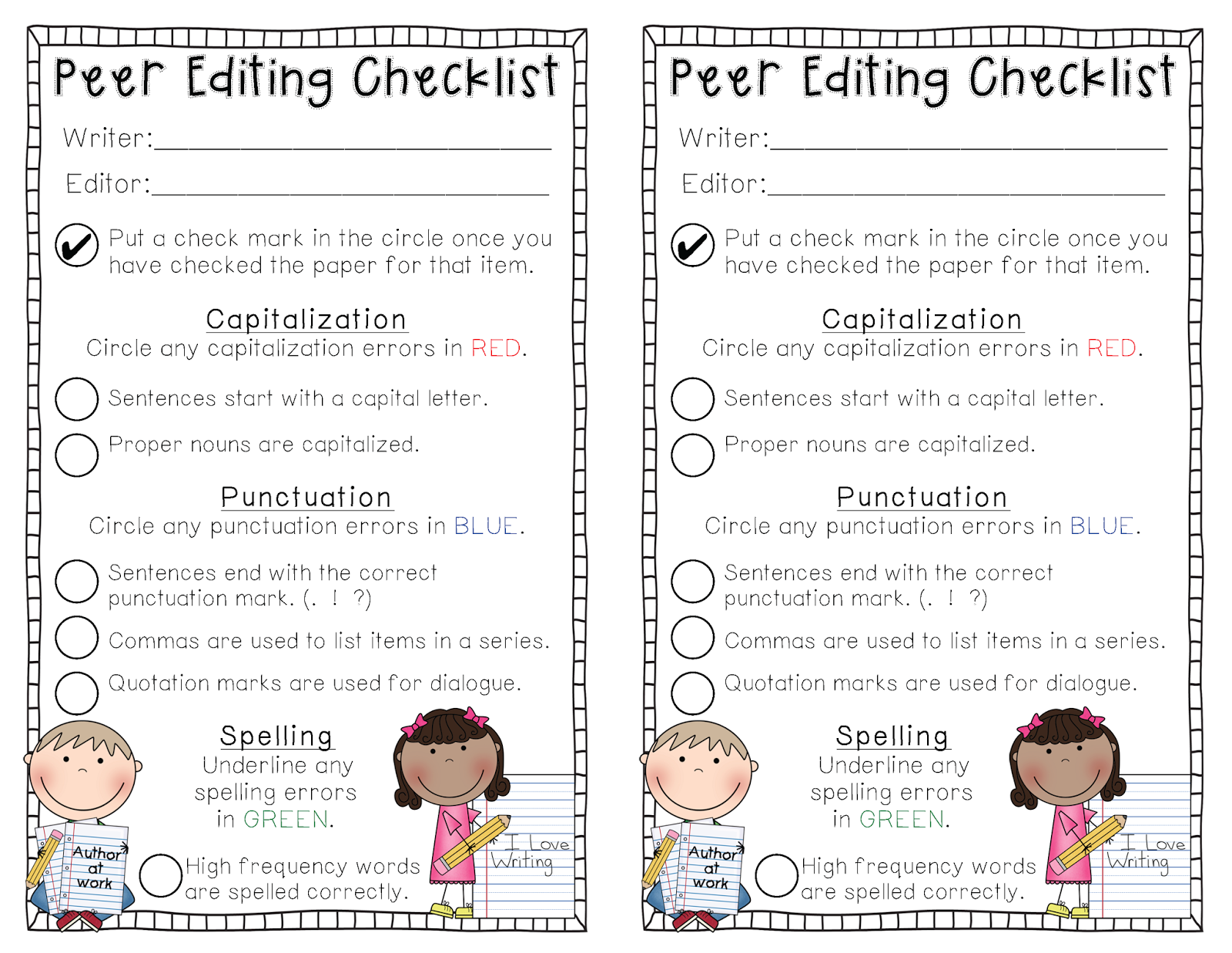 peer editing checklist Peer editing checklist does the paper meet the length requirement does each subsection contain the appropriate information is any information missing from a.