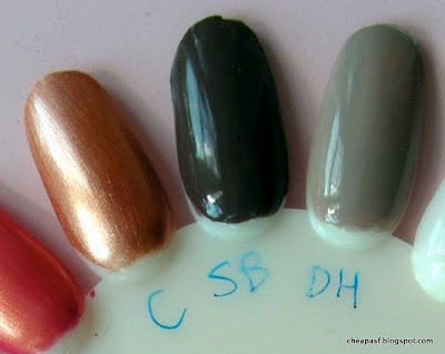 e.l.f. Essential Nail Polish swatches (left to right):  Copper, Smoky Brown, Desert Haze