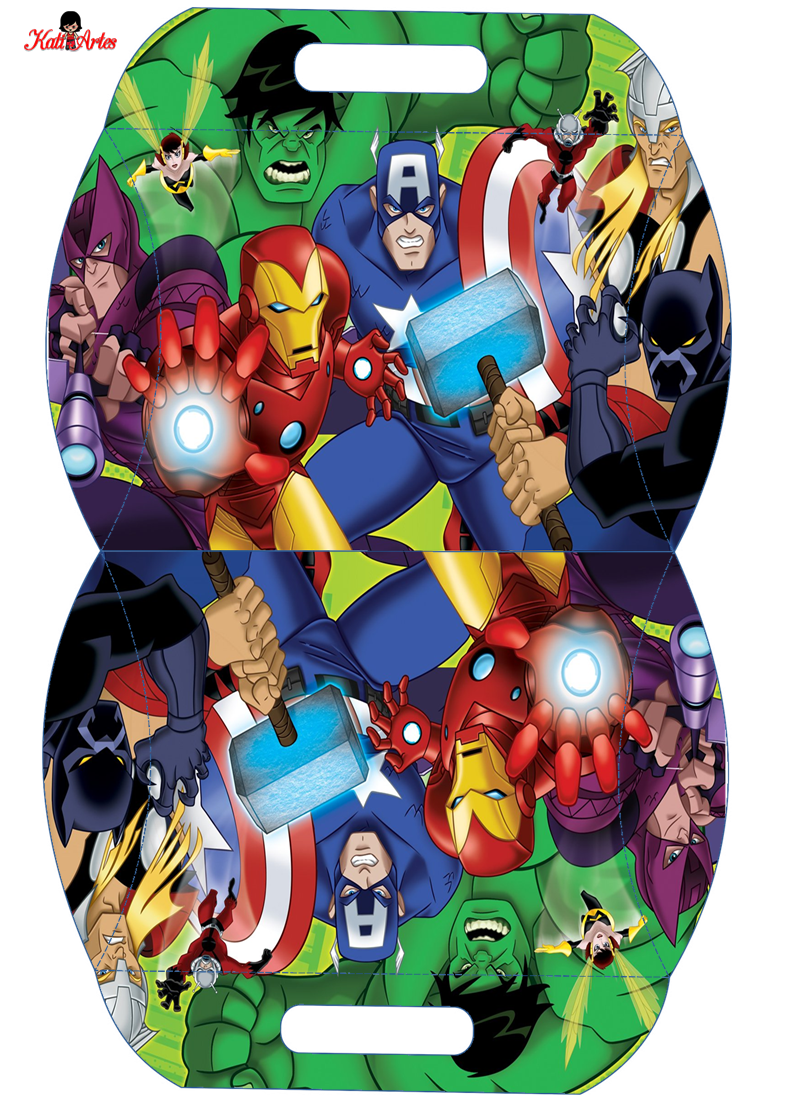 Avengers: Free Printable Pillow Box.