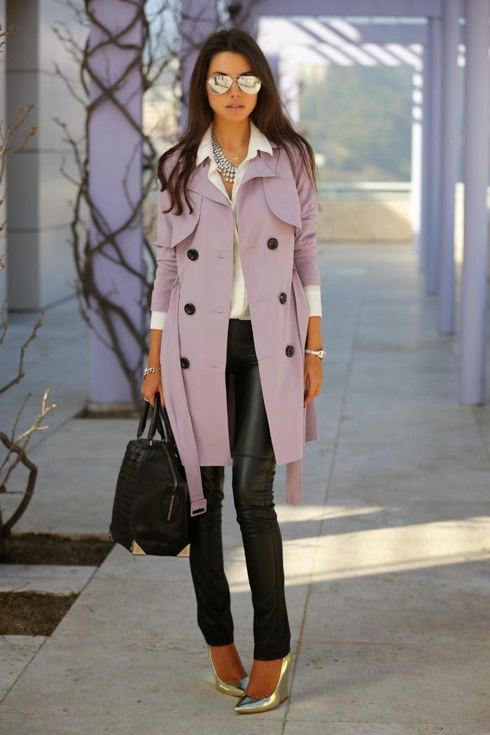 roupas femininas, trench coat com calça de couro