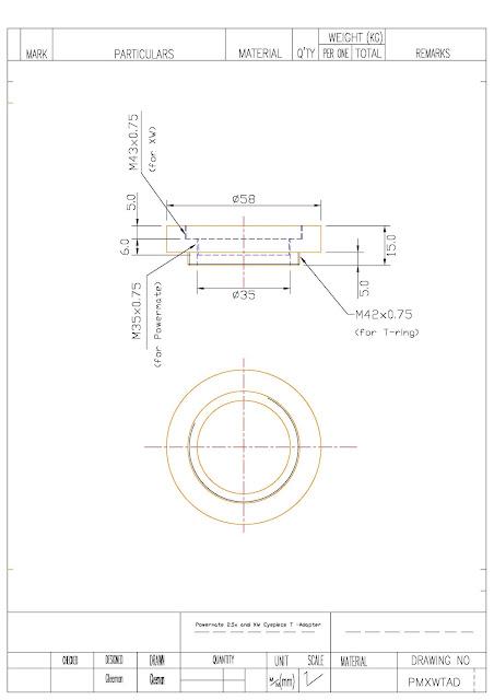 轉接T接環用,特地為接 TeleVue Powermate 2.5x 和  Pentax XW 系列目鏡做的