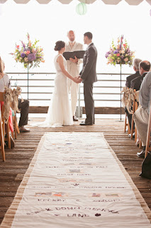 "Kelsey and Sergei ""walk down their memory land"" aisle runner.  Kent Buttars, Seattle Wedding Officiant"