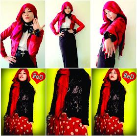 Model Hijab Paduan Busana Merah