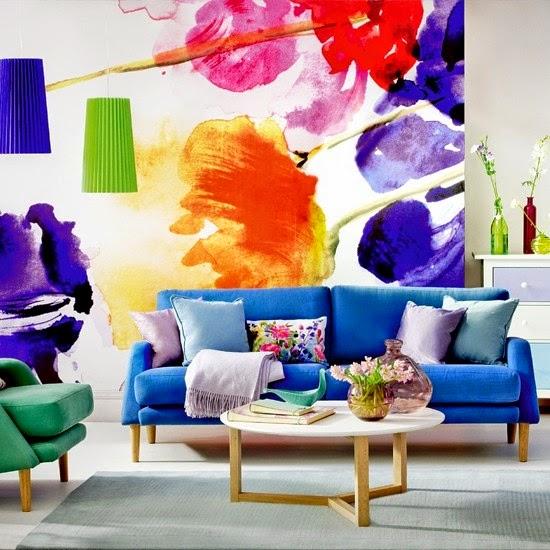 ... créatives pour le salon: décoration murale avec des motifs floraux