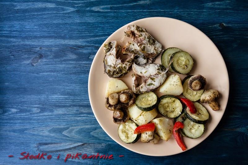 Dorsz z parowanymi warzywami