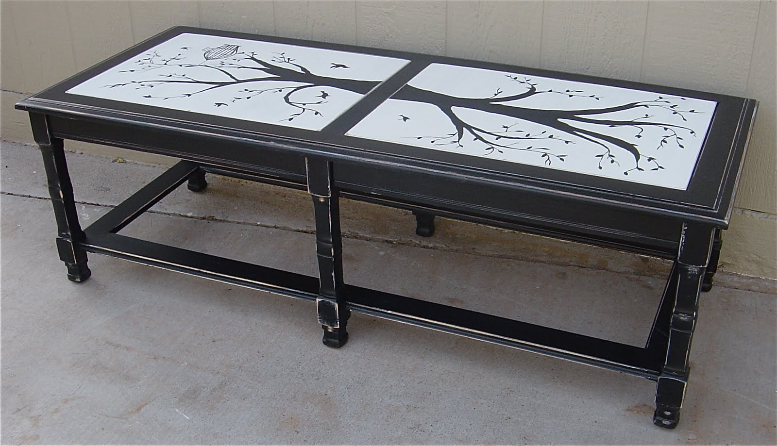 The Backyard Boutique By Five To Nine Furnishings Black Distressed Coffee Table With Mural