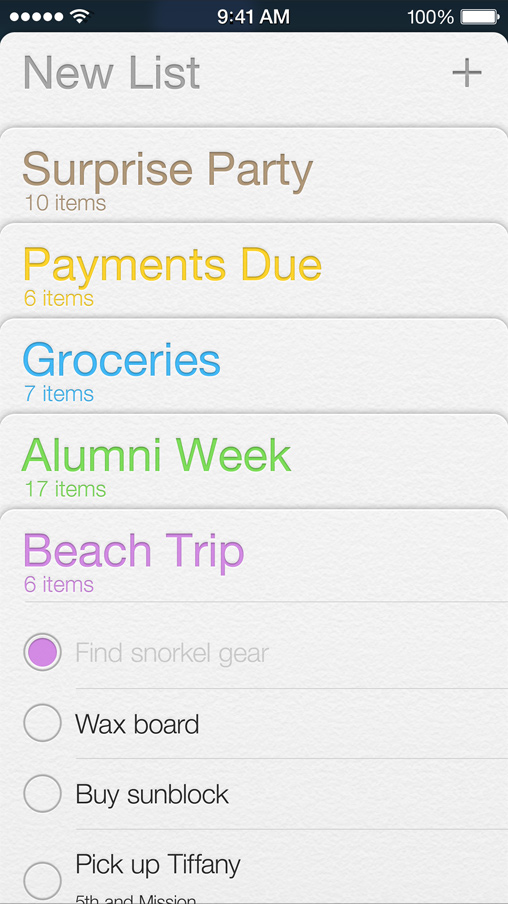 iOS 7 Notes, Reminders, Passbook