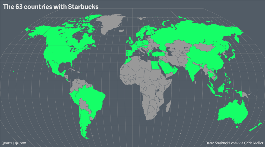 A map of starbucks growing global domination exploring markets starbucks currently has 23187 stores around the world the company earns 15 billion per year heres a map showing every country where starbucks has at gumiabroncs Image collections