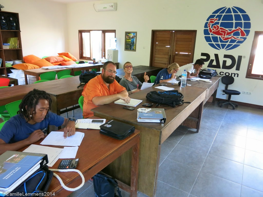 PADI IDC, prep exams in progress, Gili Air, Indonesia, August 2014
