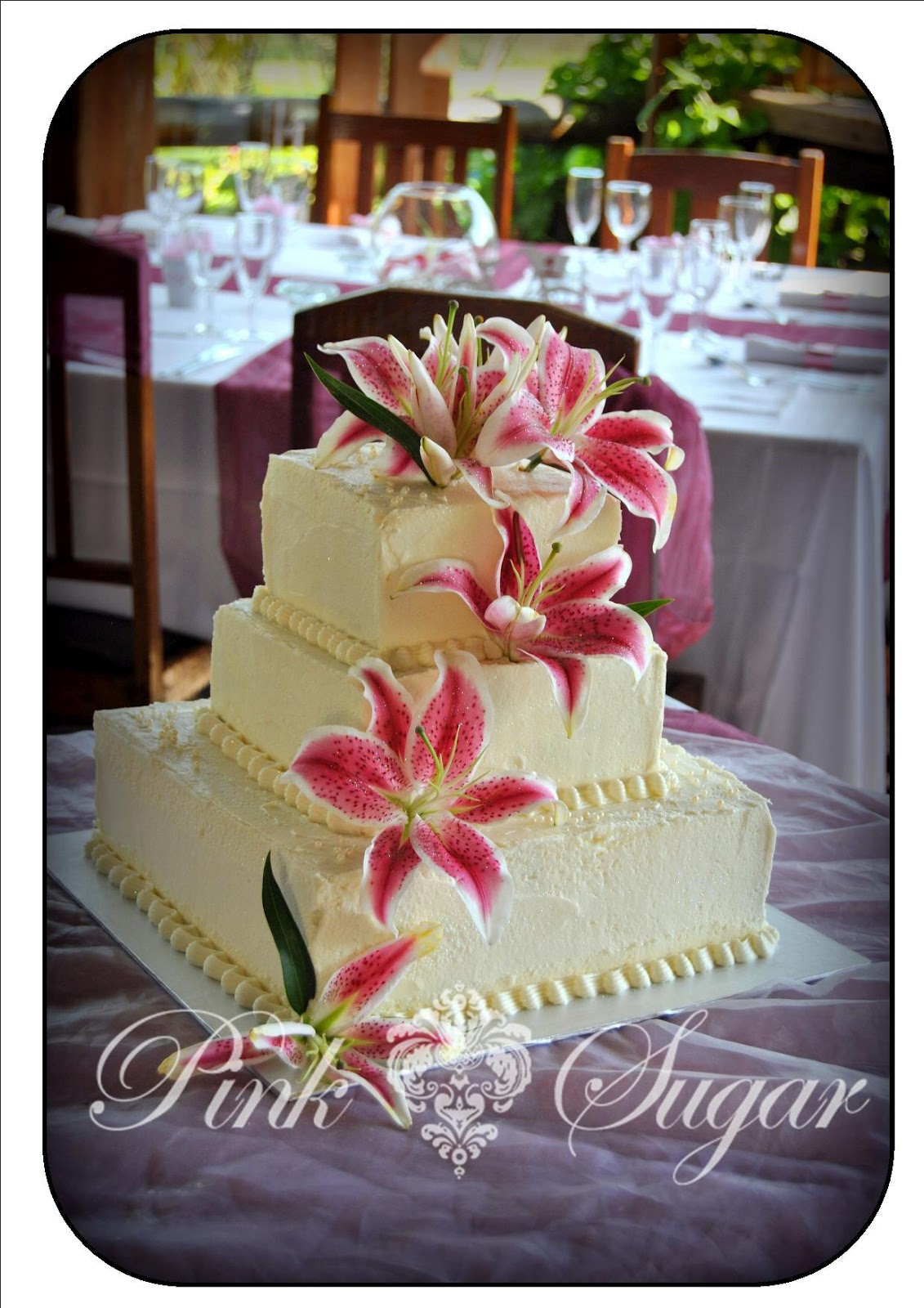 Pink Sugar Square Butter Iced Wedding Cake with Fresh