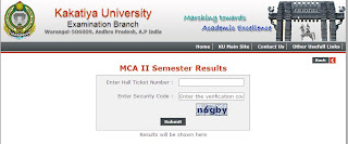Kakatiya University MCA Results 2013